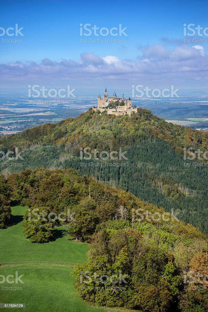 Hohenzollern castle in the beginning of autumn royalty-free stock photo