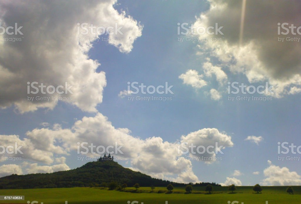 Hohenzollern castle in the sunlight stock photo