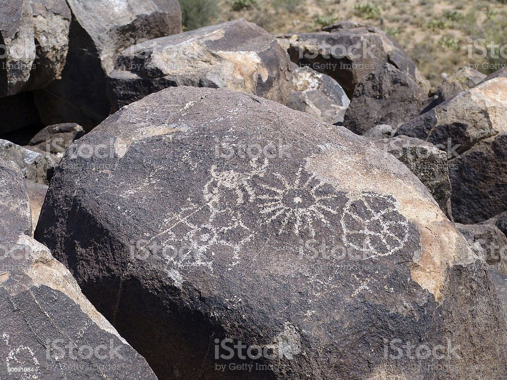 Hohokam Petroglyph 4 stock photo