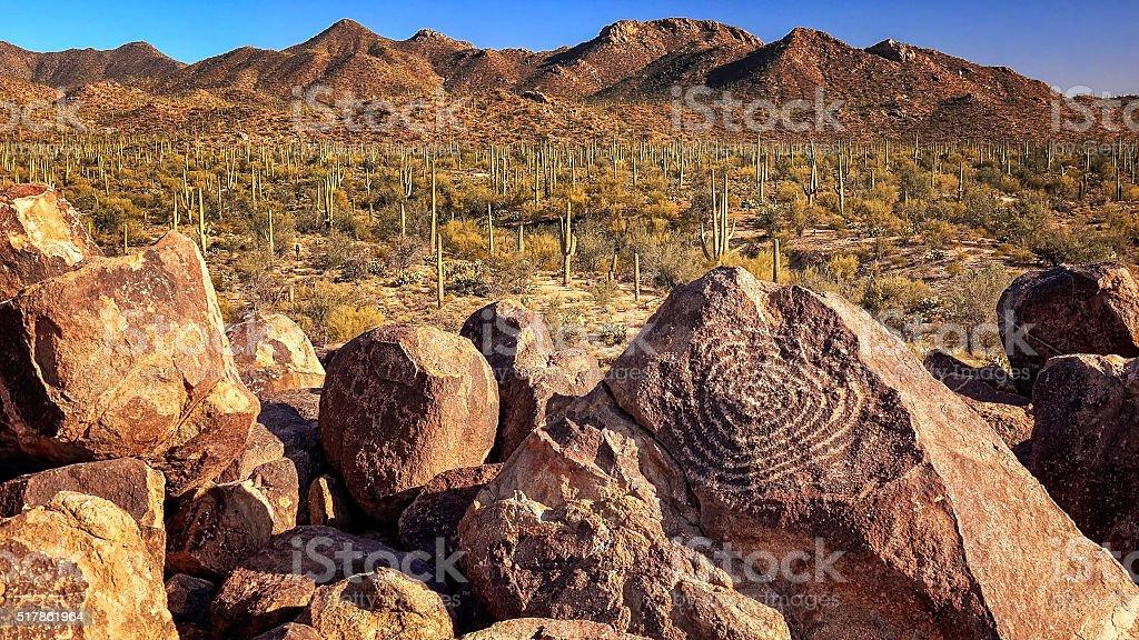 Hohokam Petroglyphs at Signal Hill in Saguaro National Park stock photo