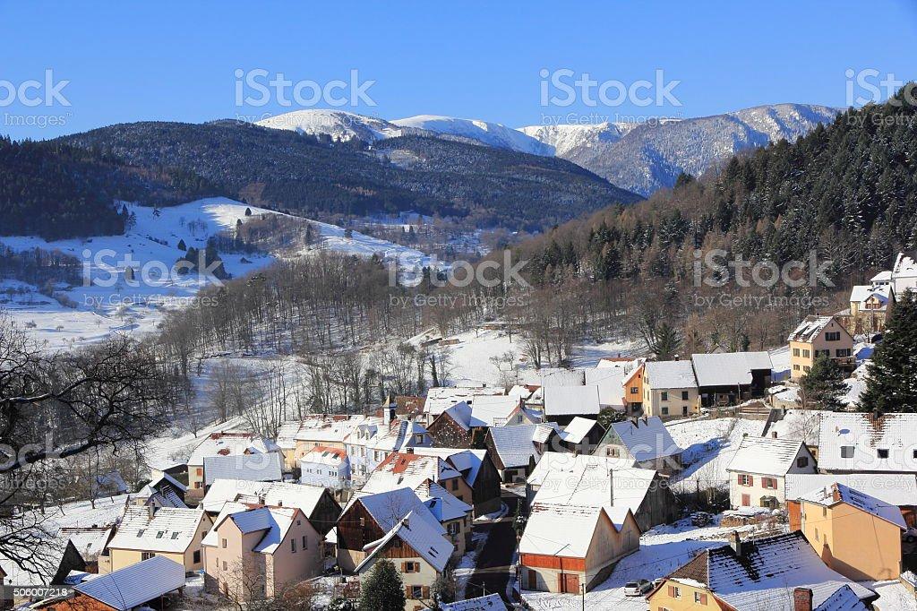 Hohrod, tourist village in the Vosges stock photo