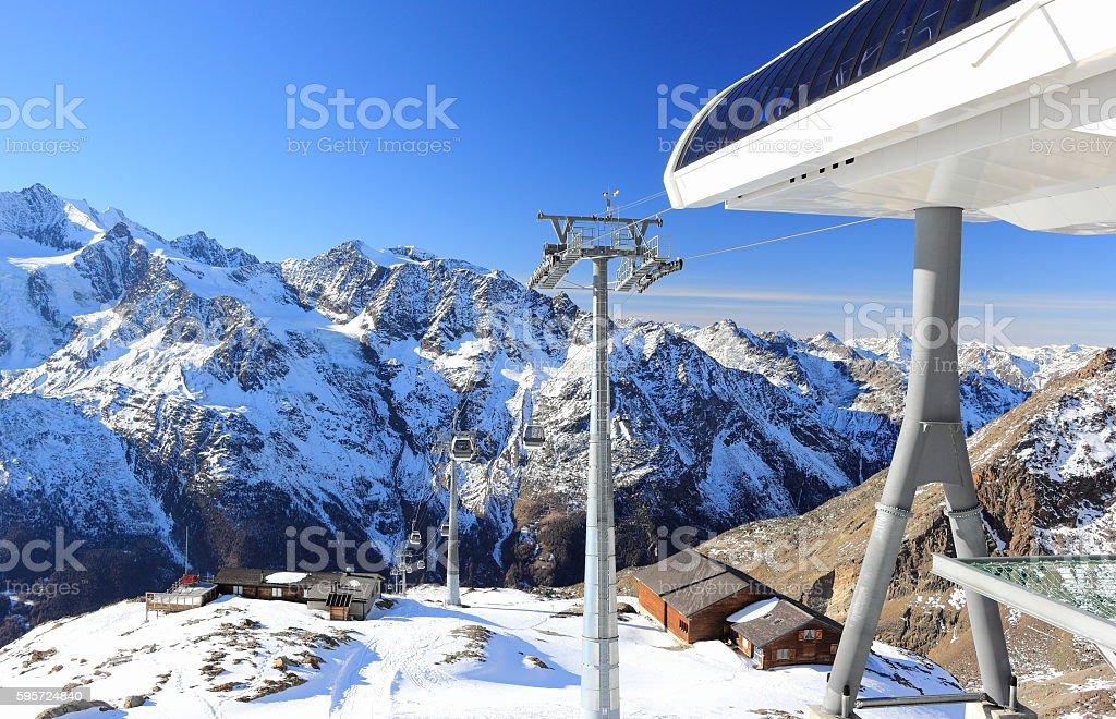 Hohsaas mountain, 3,142 m. The Alps, Switzerland. stock photo