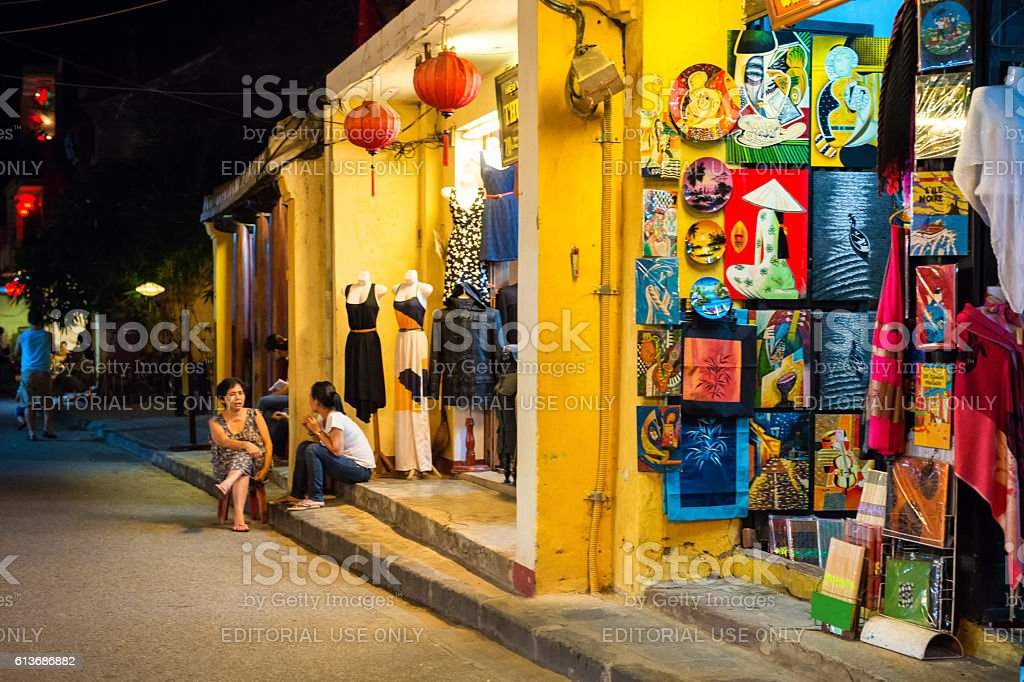 Hoi An ancient town at night stock photo