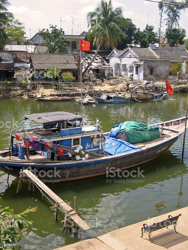 Hoi an river boat vietnam royalty-free stock photo