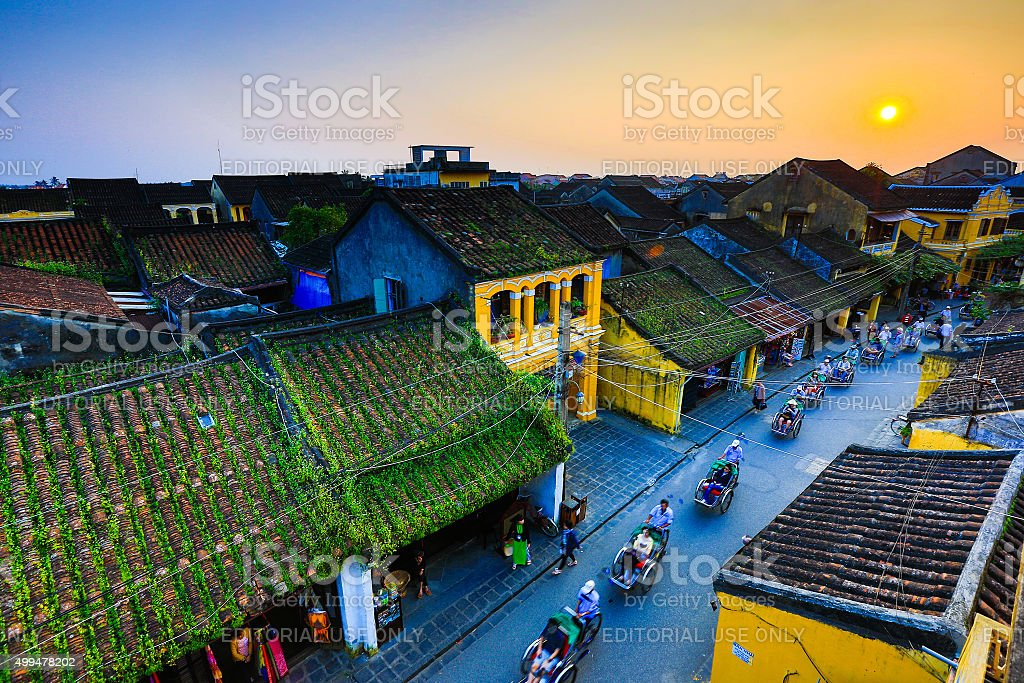 Hoian from highview in sunset stock photo