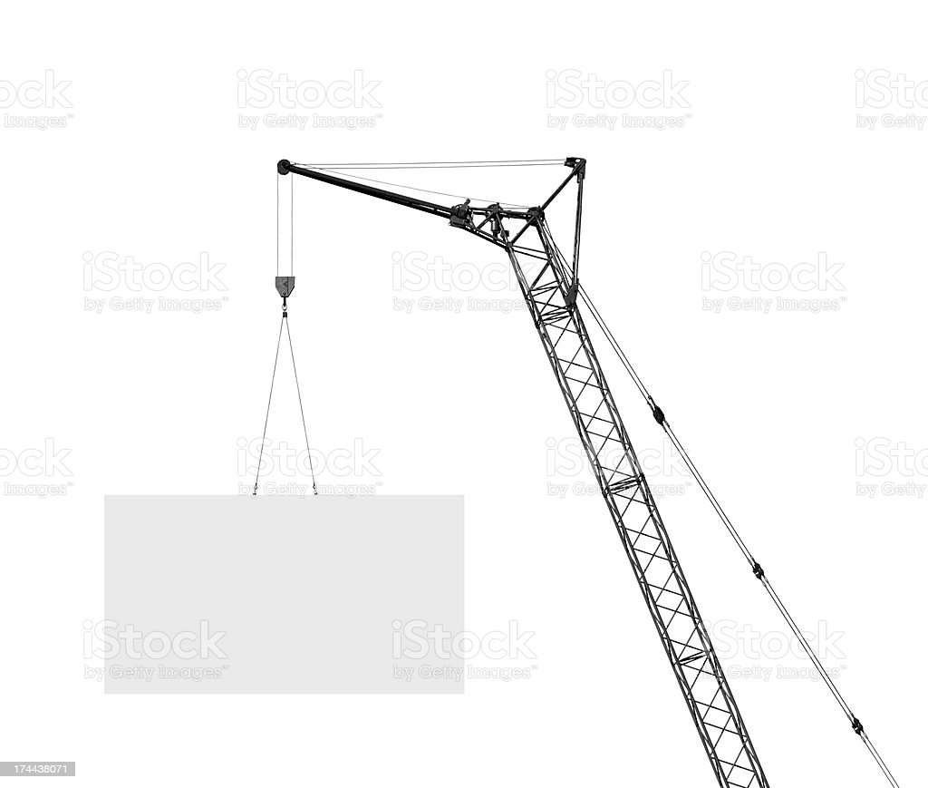 hoisting crane with empty board stock photo