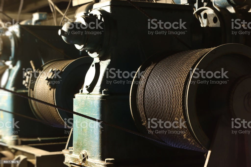 Hoisting drum with steel rope stock photo