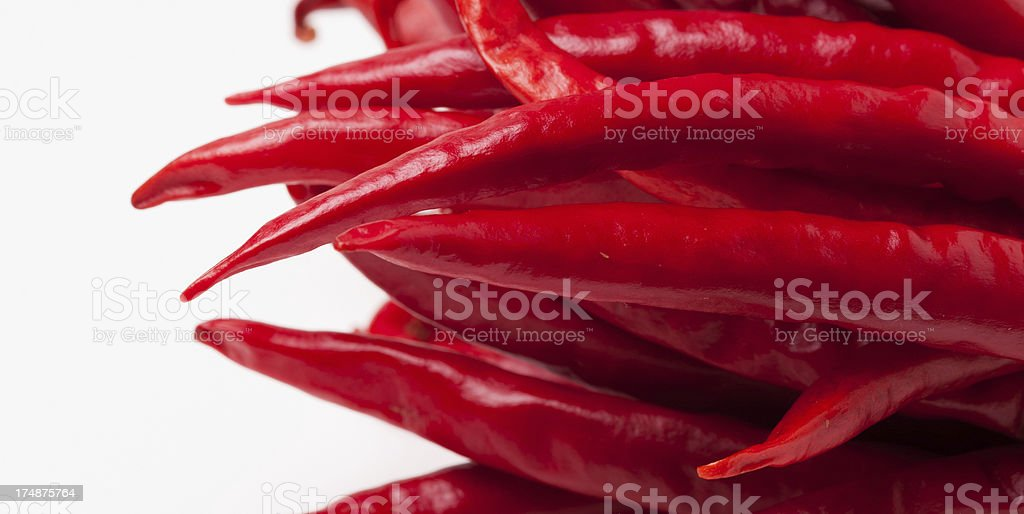 Hoizontal Red Chili Peppers stock photo