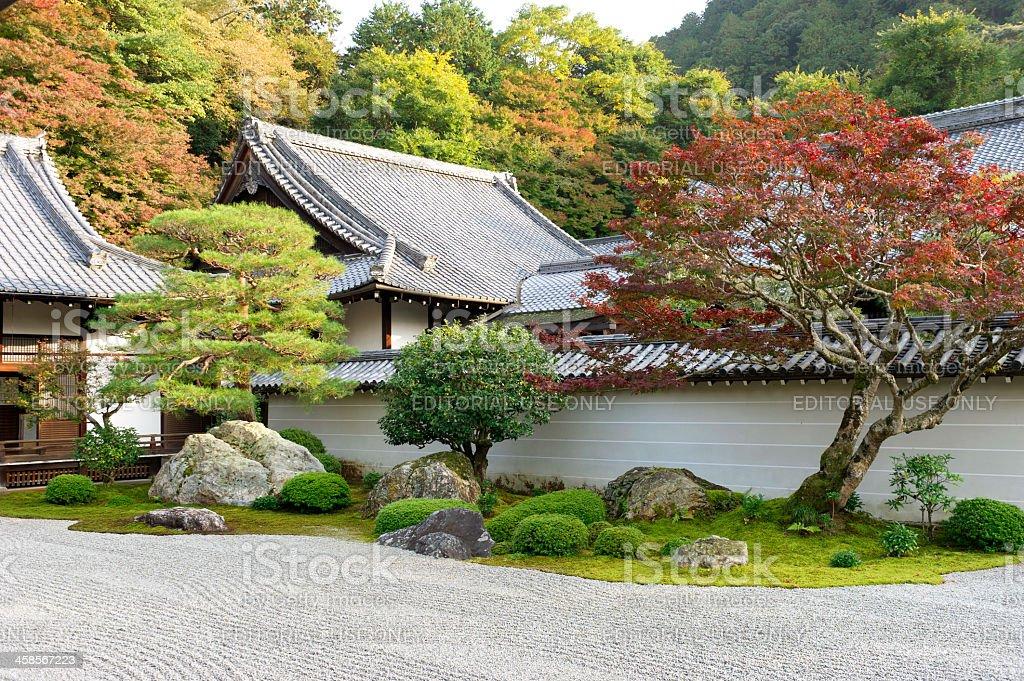 Hojo  garden in fall colors , Buddhist Nanzenji Temple,Kyoto,Japan royalty-free stock photo