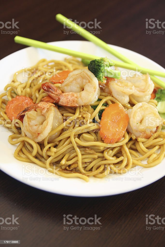 Hokkien noodles with prawn. stock photo
