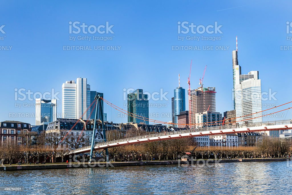 Holbein bridge in Frankfurt am Main with skyline. stock photo