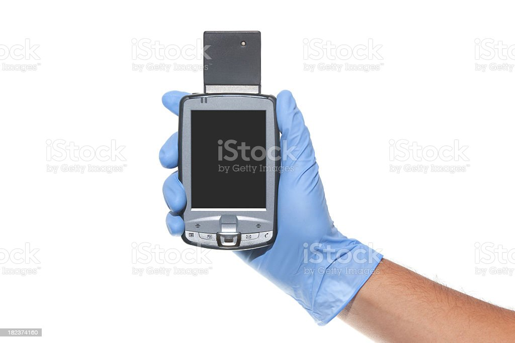 Hold Pocket PC With Gloved Hand royalty-free stock photo