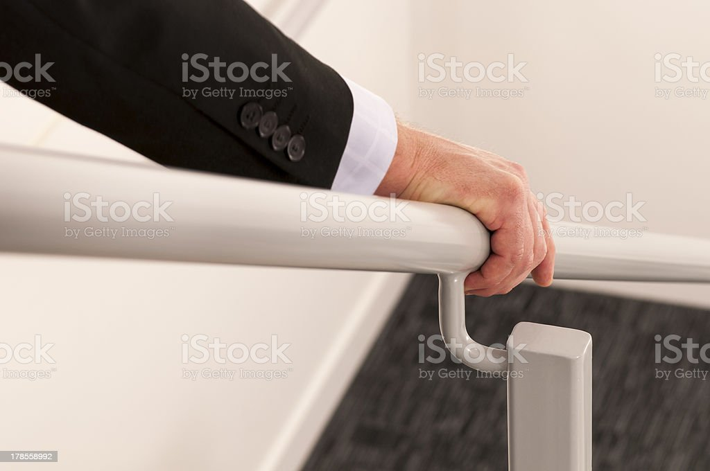 Hold the handrail stock photo