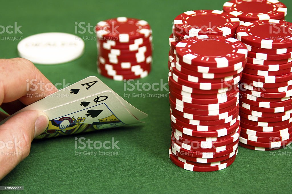 'Hold'em- Ace, Queen on the Button' stock photo