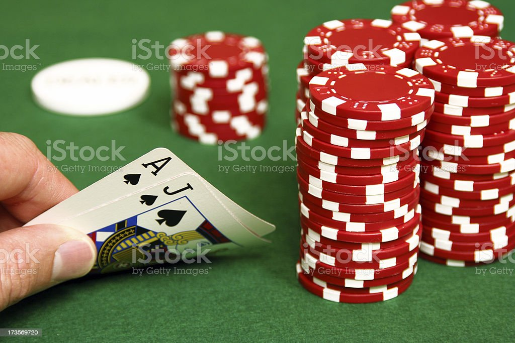 Hold'em- Blackjack on the Button royalty-free stock photo