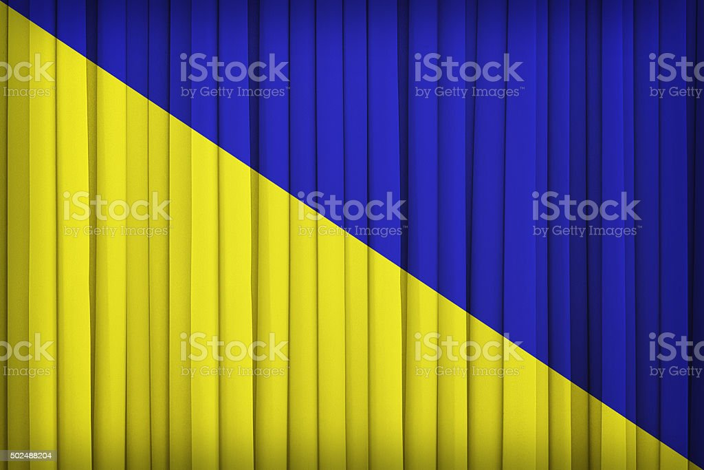Holdenville ,Oklahoma flag pattern on the fabric curtain,vintage stock photo