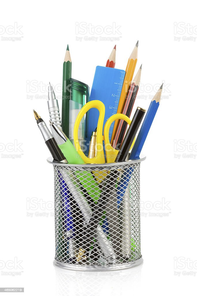 holder basket and office supplies isolated on white stock photo
