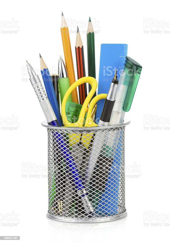 holder basket and office supplies stock photo