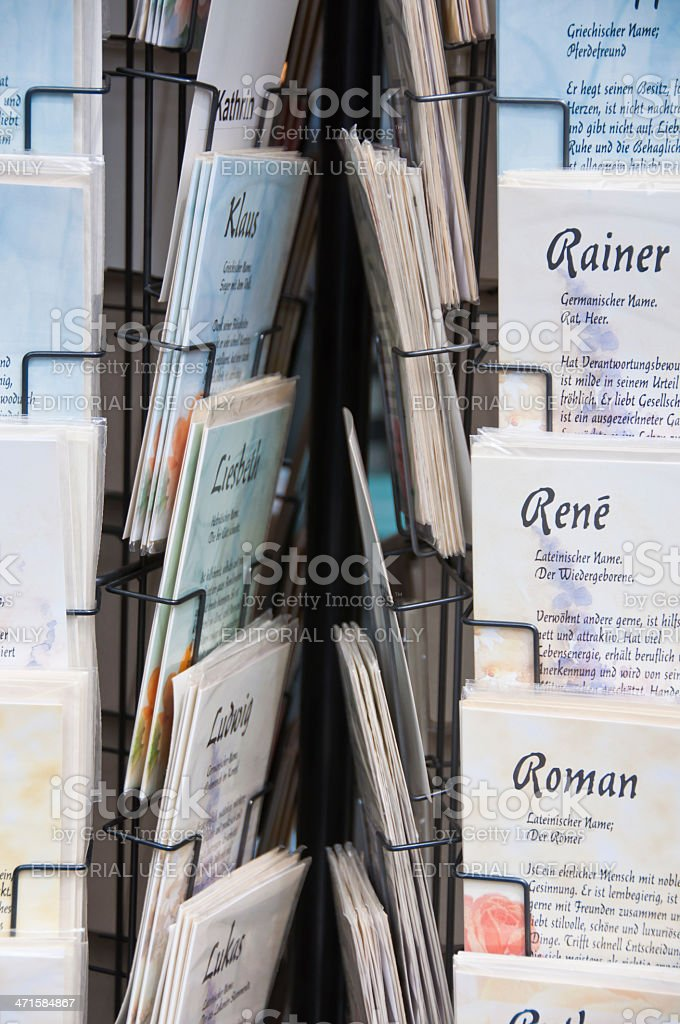 Holder with Greeting Cards a front of Bookstore royalty-free stock photo