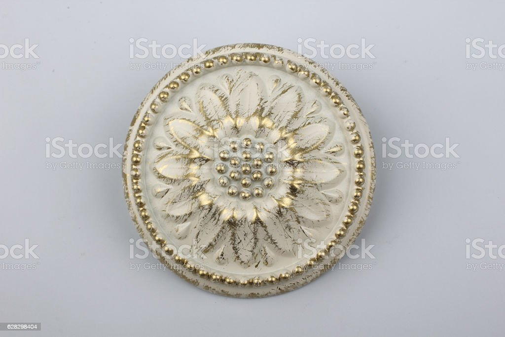 Holders for fabric on the curtain cornices. stock photo