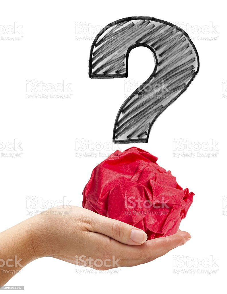 Holding a Big Question royalty-free stock photo
