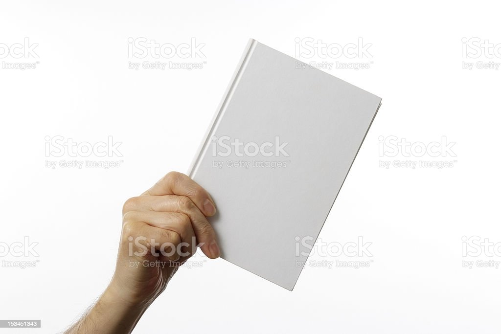 Holding a blank book against white background stock photo
