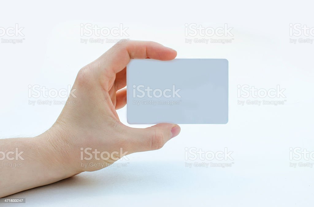 Holding a blank card stock photo