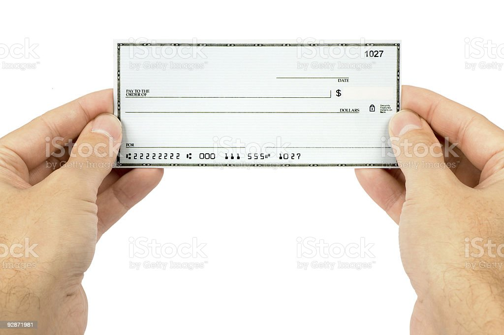 Holding a blank check stock photo