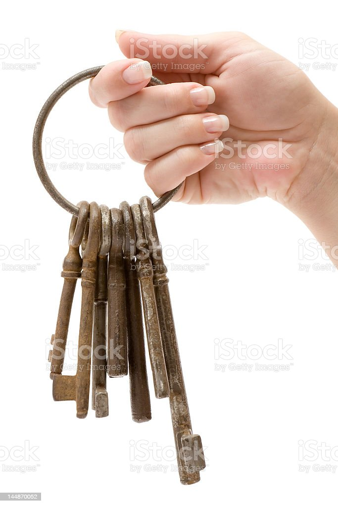 Holding a Bunch of Rusty Keys royalty-free stock photo