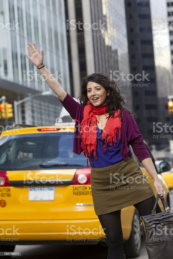 holding a cab stock photo