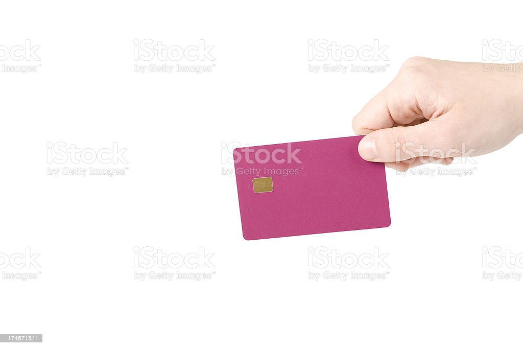 Holding a card royalty-free stock photo