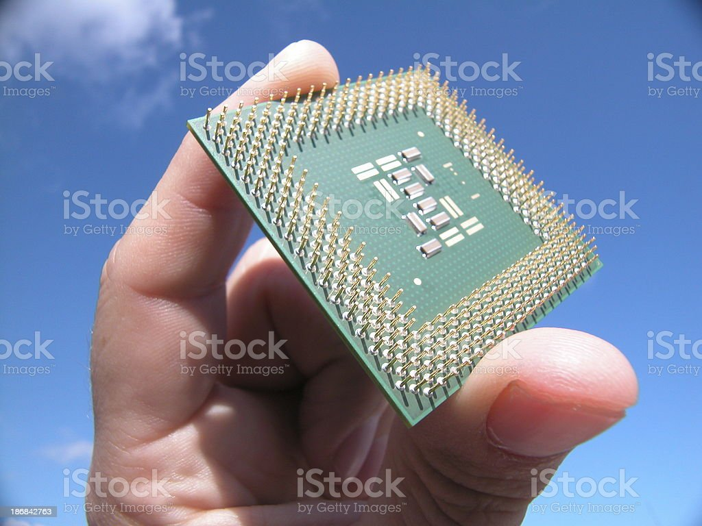 Holding a chip in my Hand I stock photo