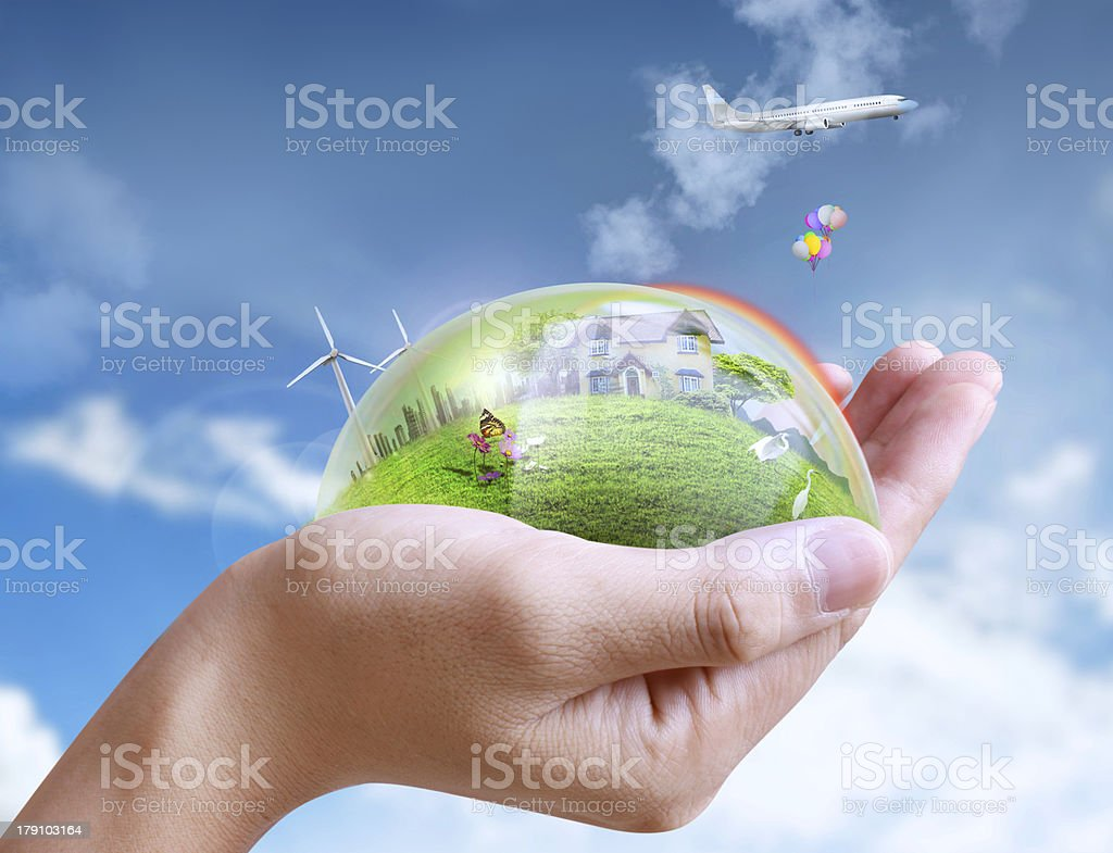 holding a city and nature royalty-free stock photo