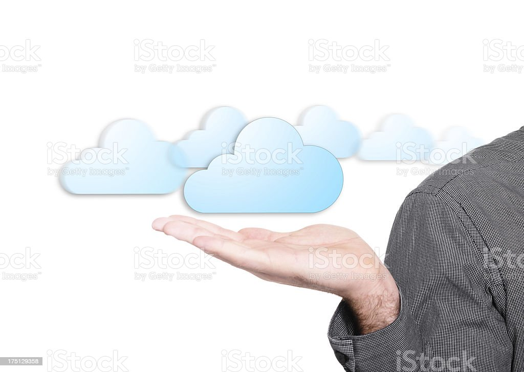 holding a Cloud - concept image royalty-free stock photo