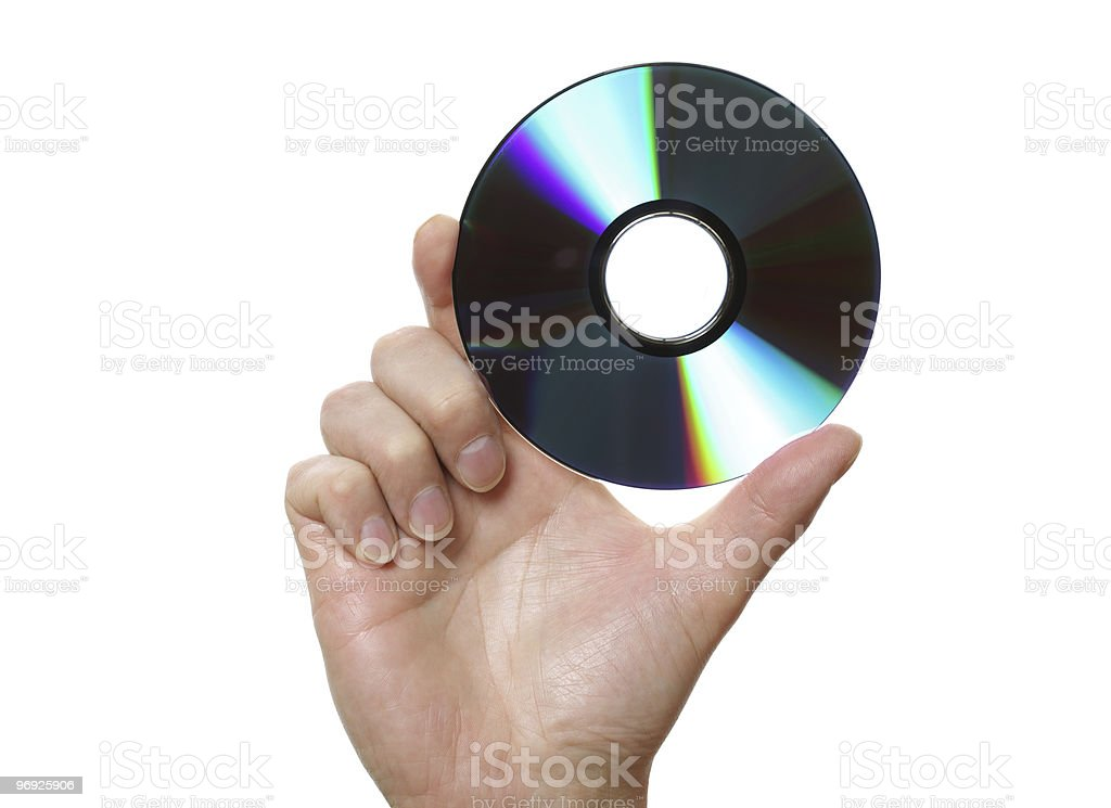 Holding a disk stock photo