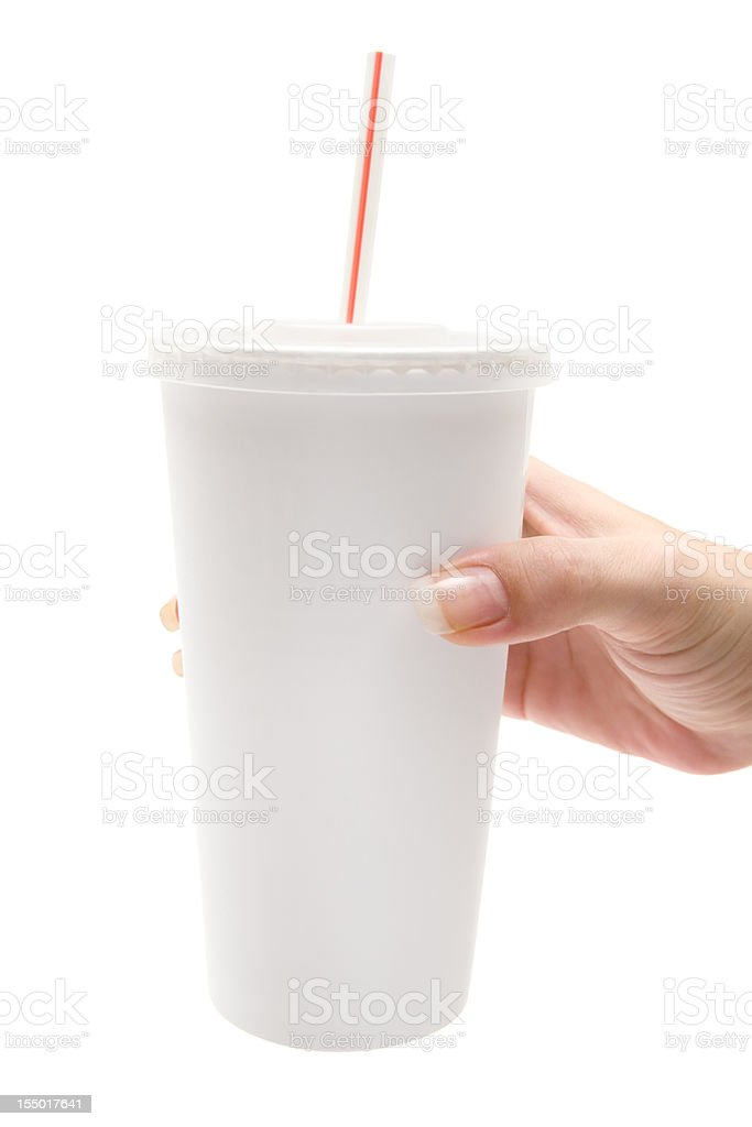 Holding a Disposable Cup stock photo