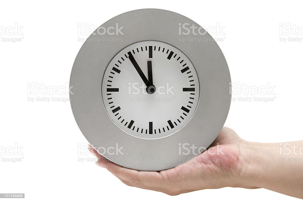 Holding a Gray Clock (Clipping Path Included) stock photo