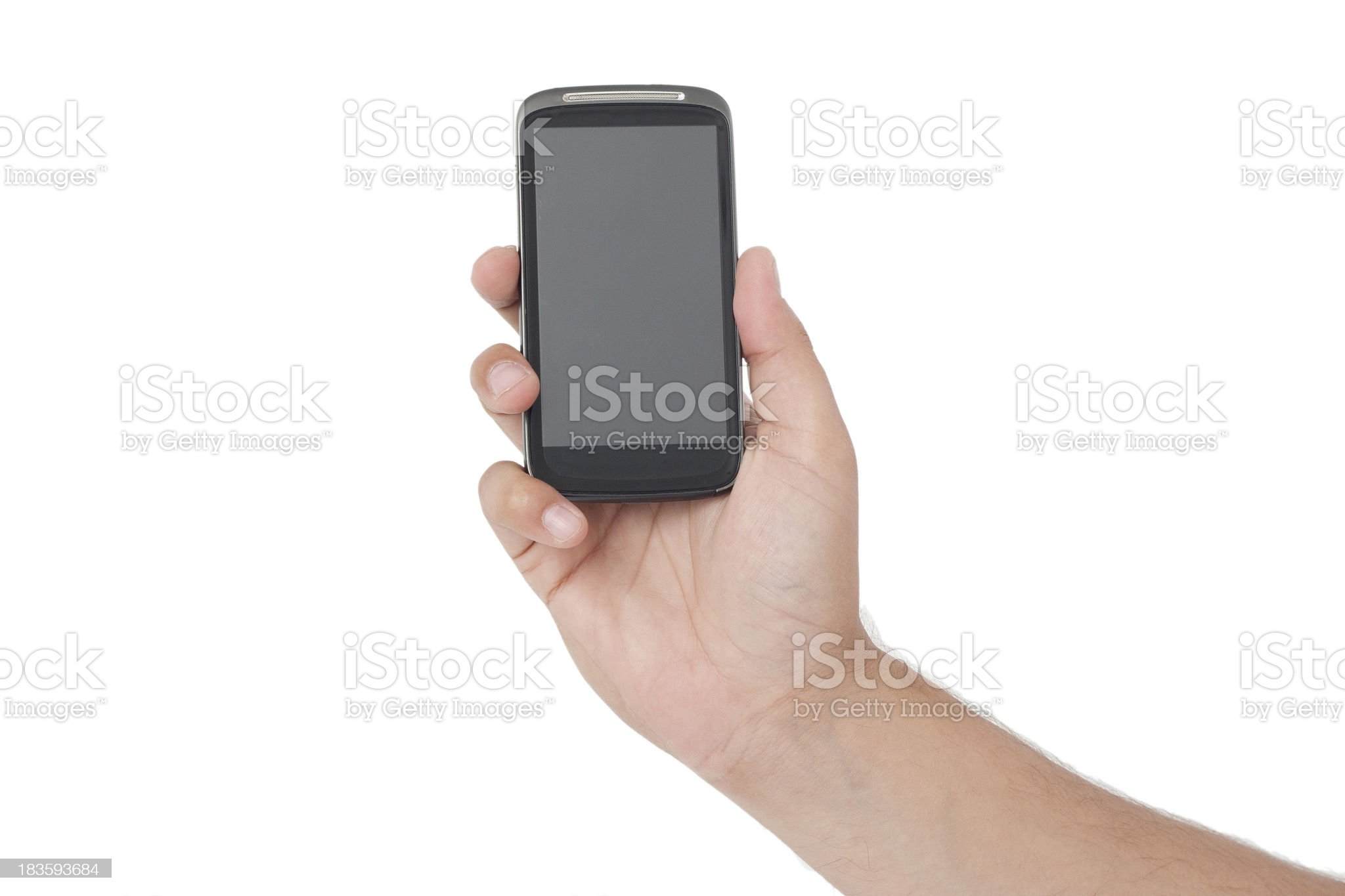 Holding a gray screen smart phone royalty-free stock photo