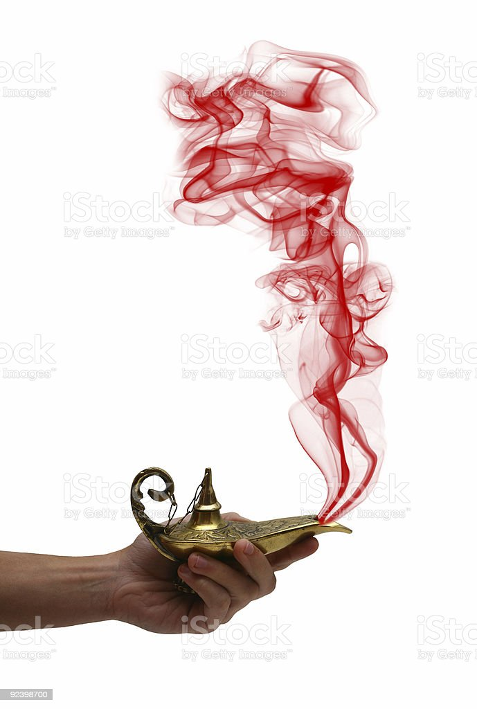 Holding a Magic Lamp royalty-free stock photo