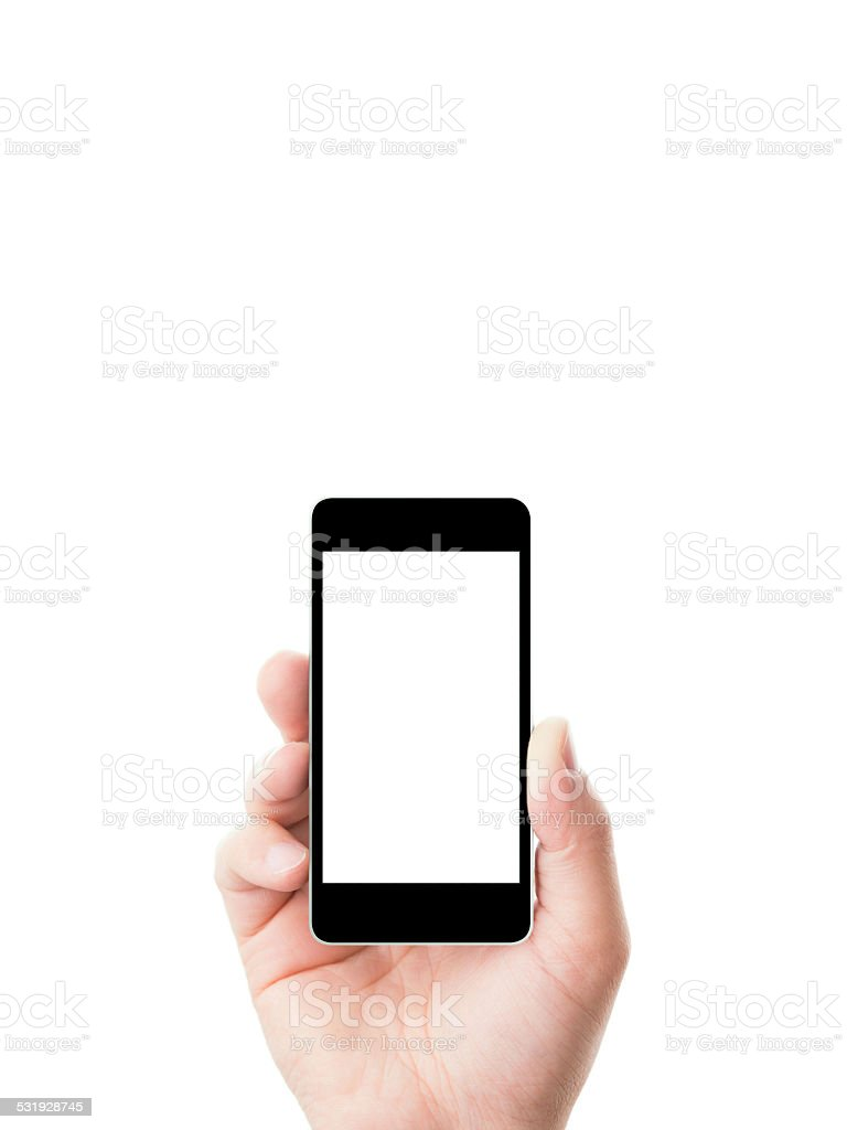 Holding a mobile phone stock photo