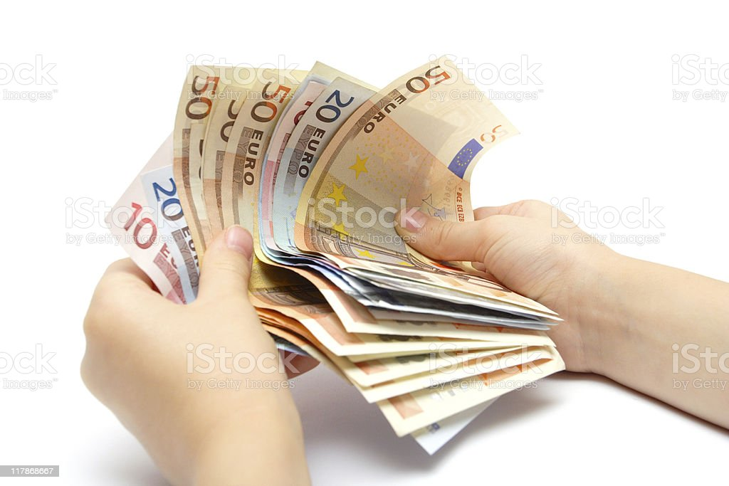 holding a money stock photo