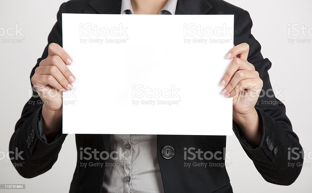 Holding a paper card royalty-free stock photo