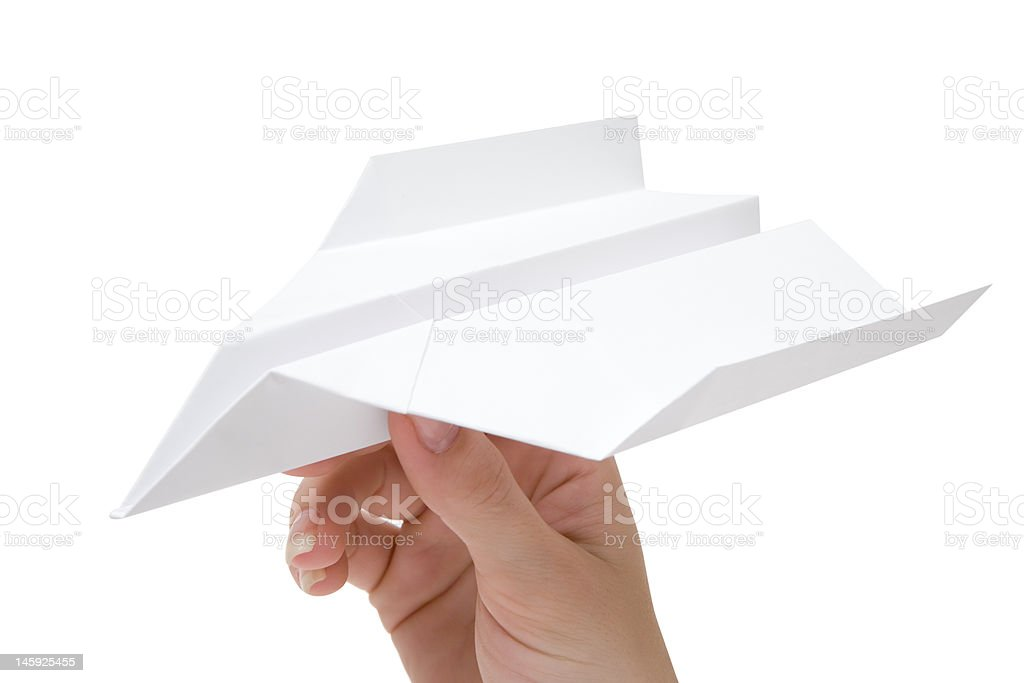 Holding a Paper Plane royalty-free stock photo