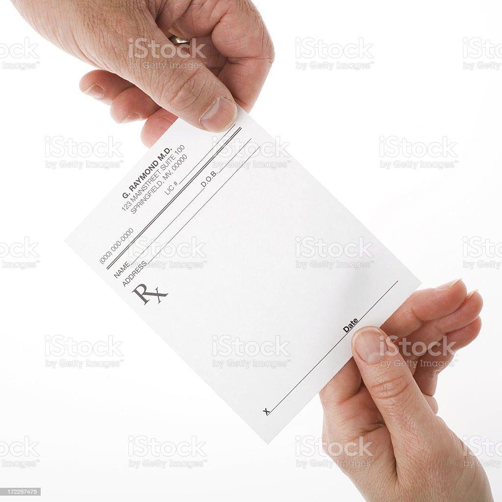 Holding a prescription stock photo