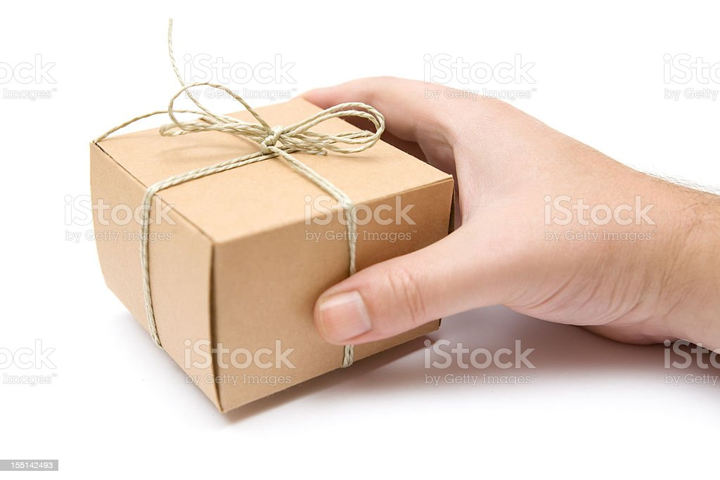 Holding a Small Decorated Packet royalty-free stock photo