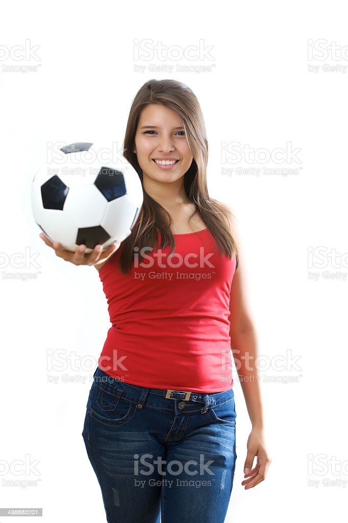 Holding a soccer ball royalty-free stock photo