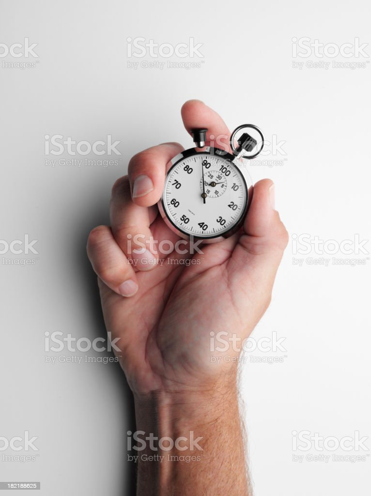 Holding a Stopwatch stock photo