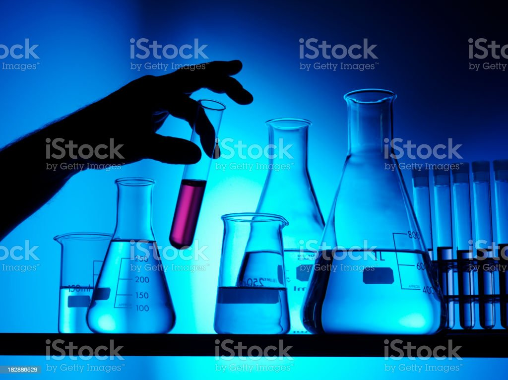 Holding a Test Tube stock photo