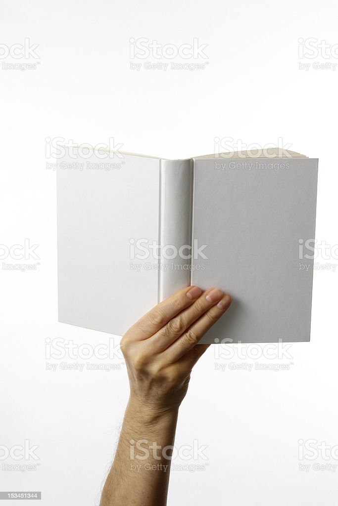 Holding a white blank book against white background stock photo