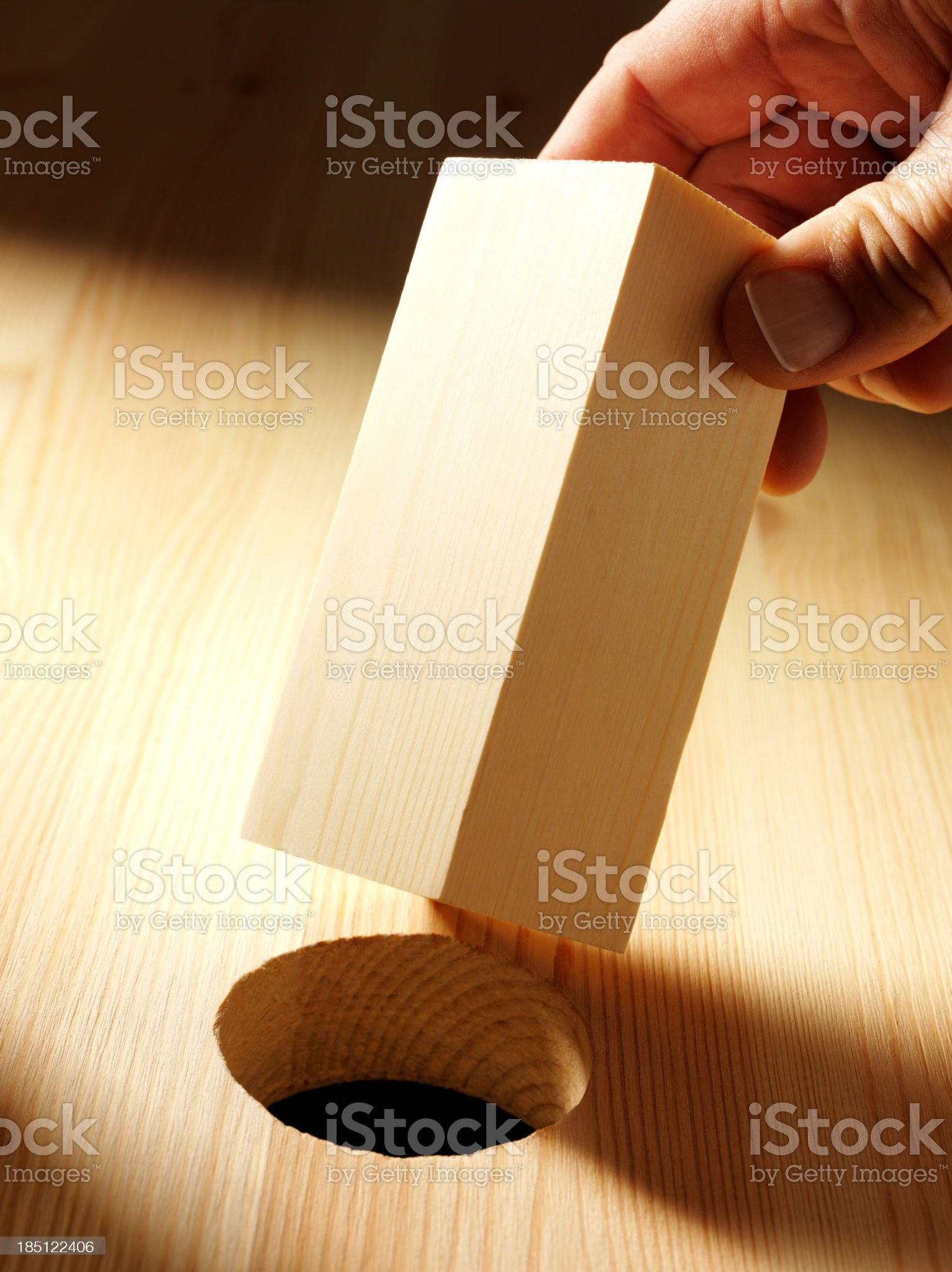 Holding a Wooden Block royalty-free stock photo